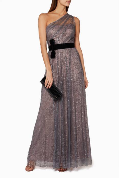 Lilac Glitter One-Shoulder Gown