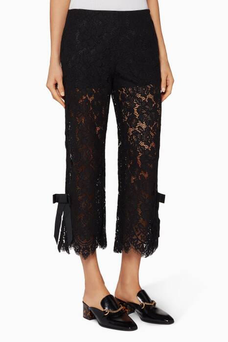 Black Dubal Lace Bow Cropped Pants