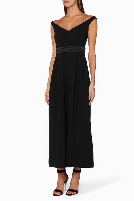 Black Vina Off-The-Shoulder Jumpsuit