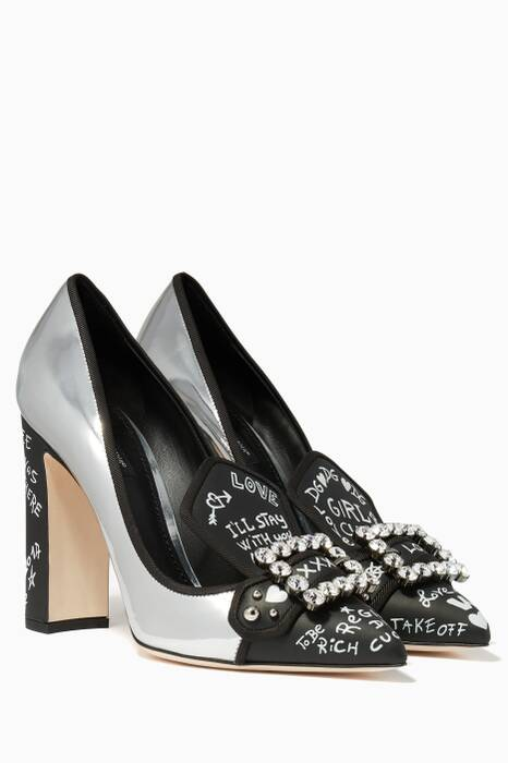 Silver & Black Grafitti-Print Bellucci Pumps