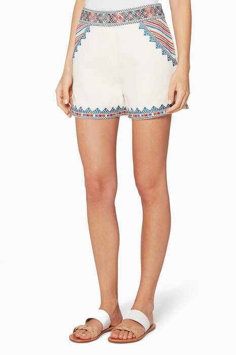 Ivory Embroidered Cotton Zoya Shorts