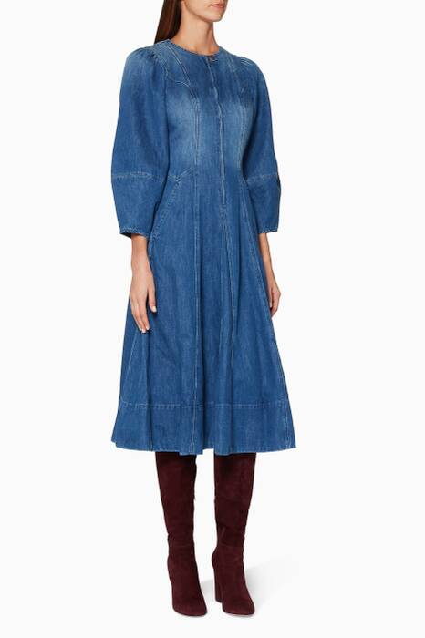 Blue Hand-Distressed Denim Dumas Dress
