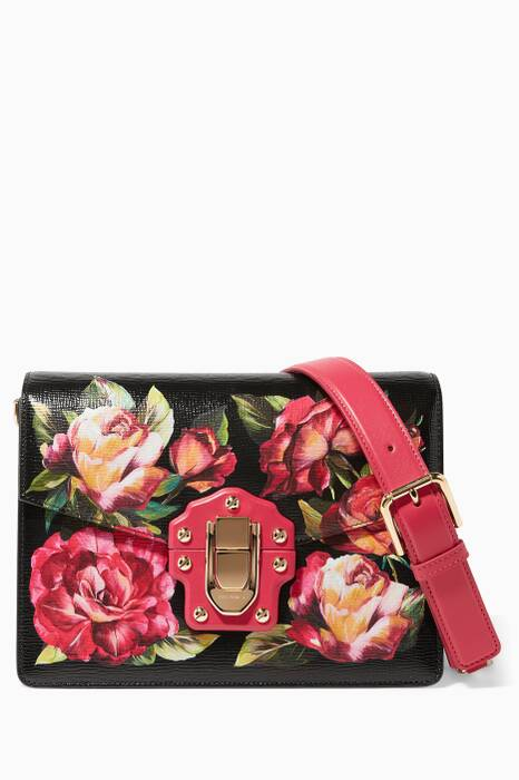 Rose Printed Leather Medium Lucia Shoulder Bag