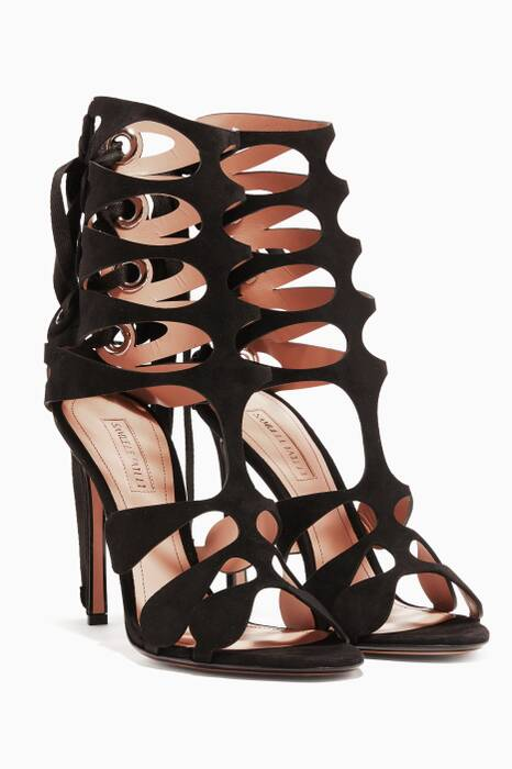 Black Diana Suede Cage Sandals