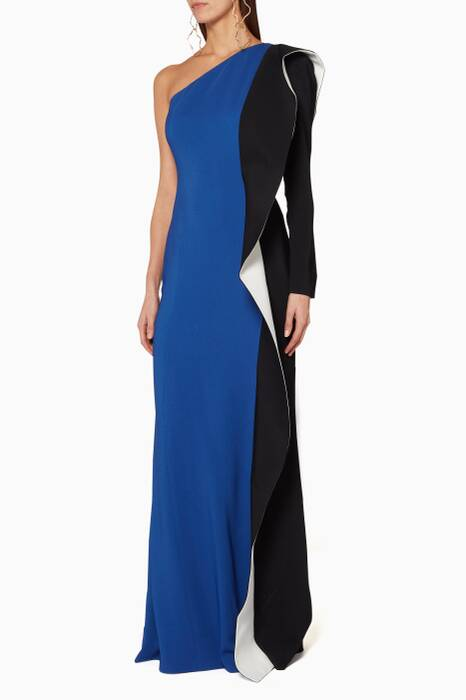 Blue One-Shoulder Cascade Gown