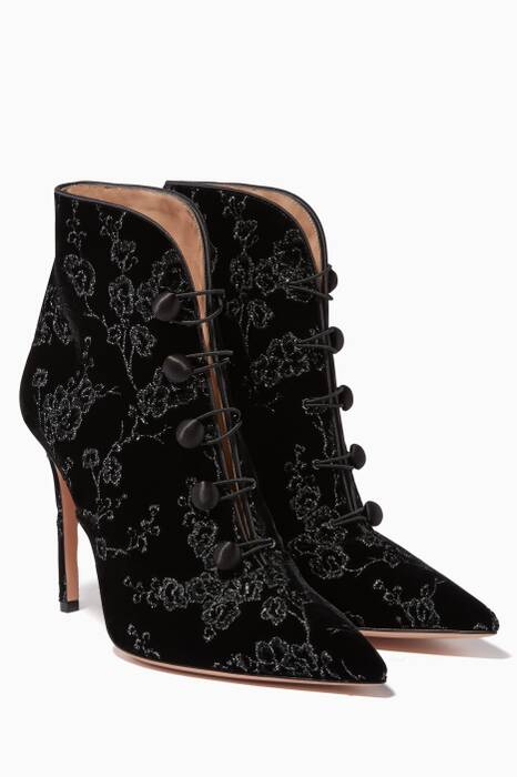 Black Shanghai Embroidered Ankle Boots