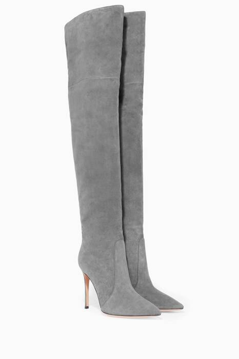 Grey Suede Over-The-Knee Boots