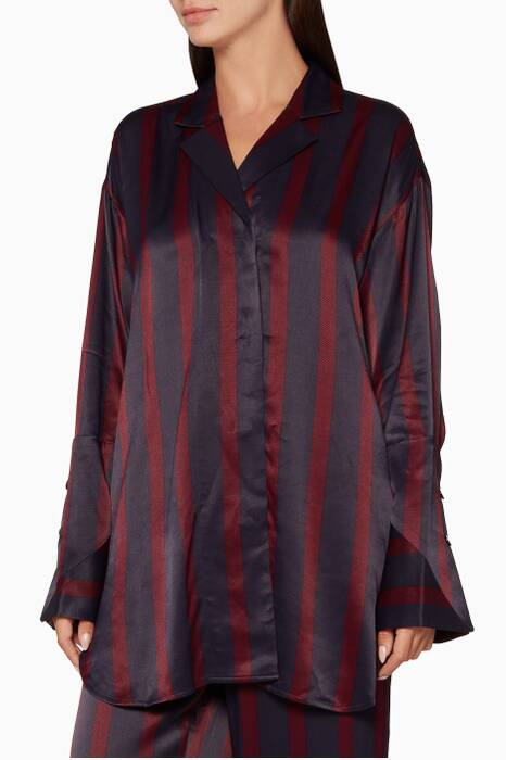 Burgundy Striped Fridari Shirt