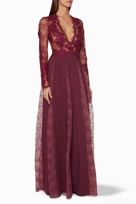 Purple Long-Sleeve Lace Gown