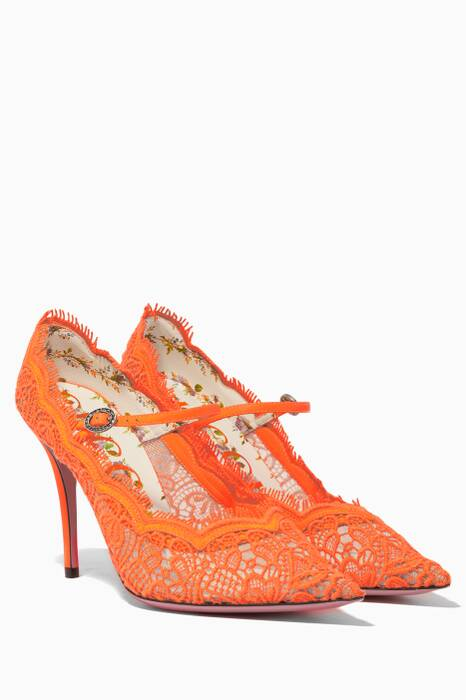 Orange Lace Mary-Jane Pumps