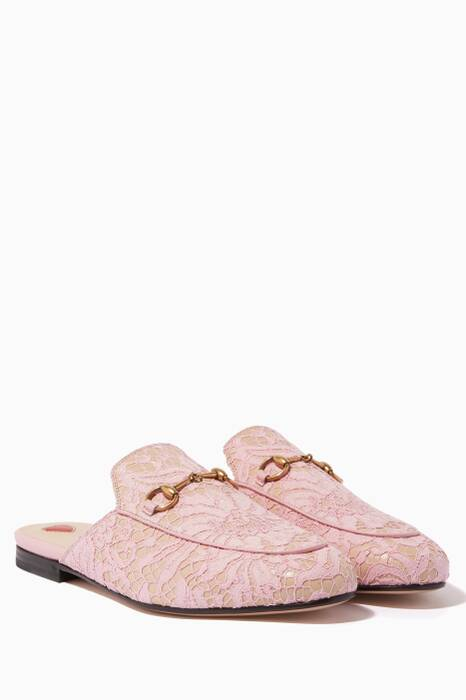 Pink Lace Princetown Loafers