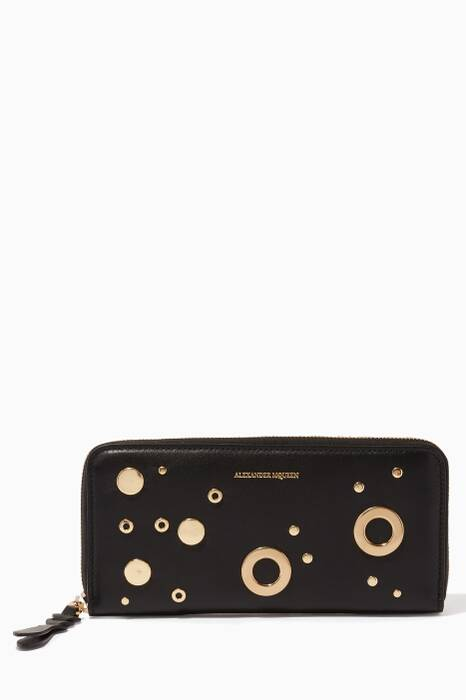 Black Eyelet-Embellished Continental Wallet