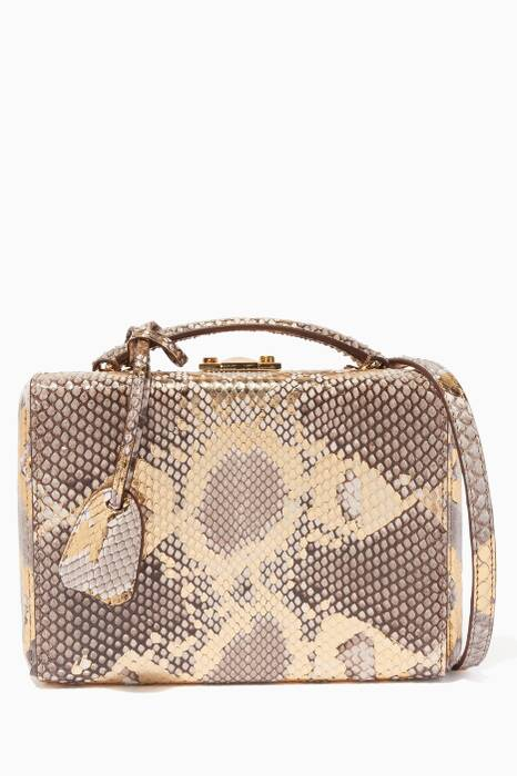 Gold Natural Small Grace Python Box Bag