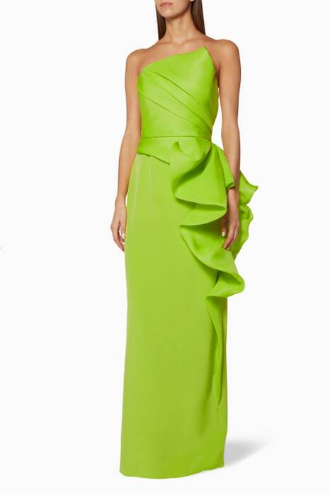 Neon-Green Strapless Ruffled Gown