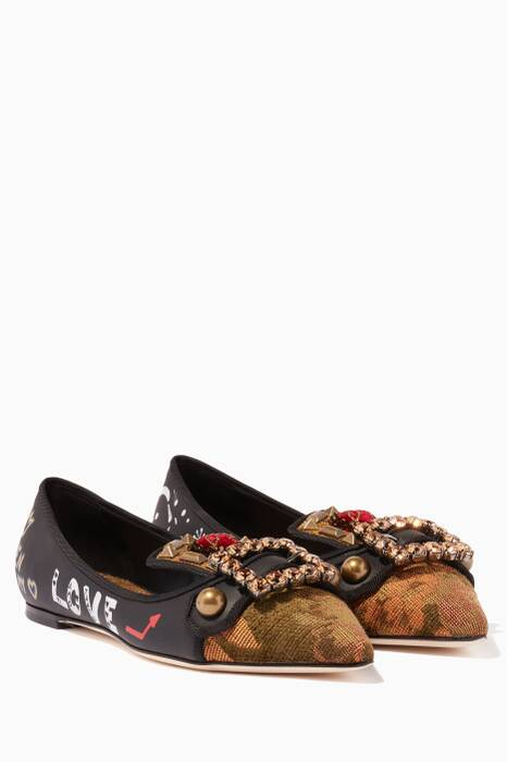 Gold & Black Brocade Buckled Ballerinas