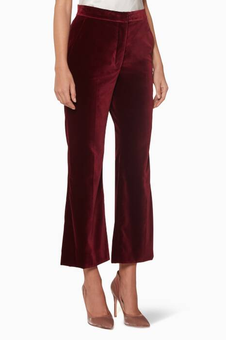 Burgundy Velvet Flared Pants
