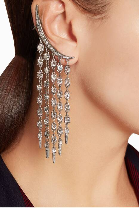Silver Tendril Crystal Ear Jackets