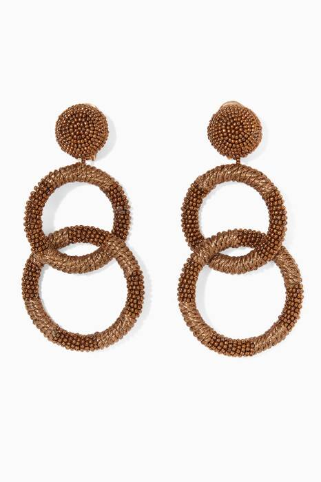 Gold Beaded Two-Hoop Earrings