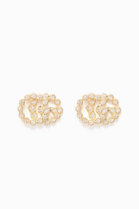 Yellow-Gold & Diamond Running Stud Earrings