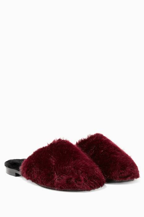 Burgundy Aspen Fox Mules