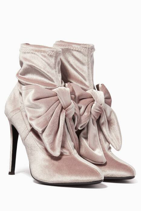 Aluminum-Grey Velvet Bow Booties