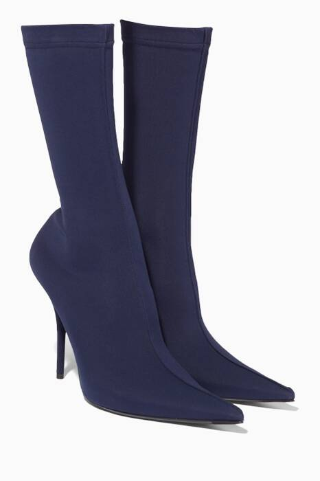 Navy Knife Spandex Ankle Booties