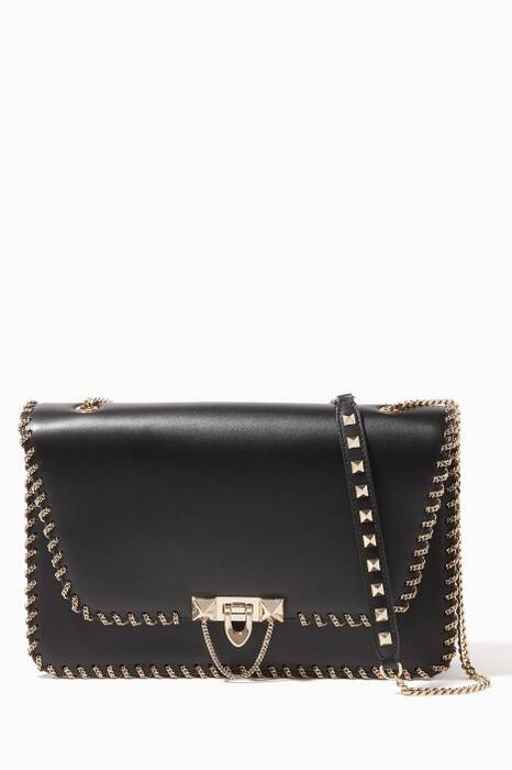 Black Medium Demilune Embellished Shoulder Bag