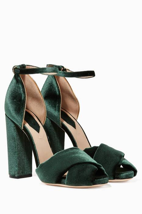 Green Velvet Ankle-Strap Crossover Sandals