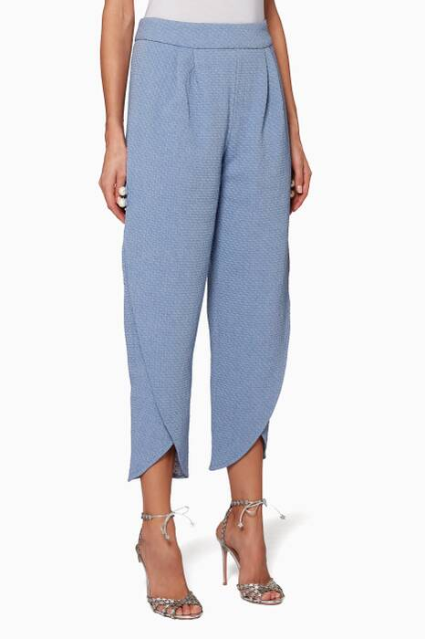 Blue High-Waisted Tapered Pants
