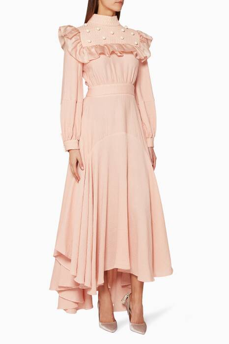Light-Pink Ruffle-Trimmed Maxi Dress