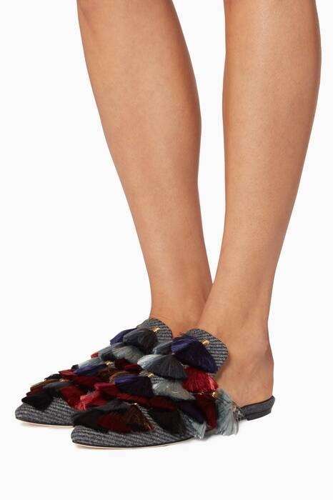 Multi-Coloured Eloise Charcoal Wool Slippers