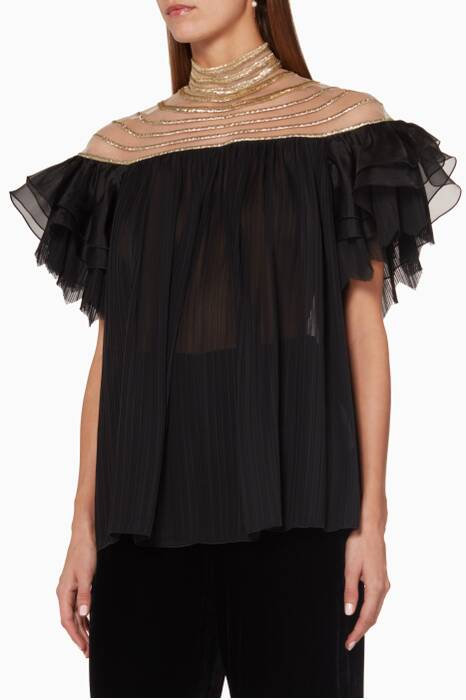 Black Lamè Embroidered Top