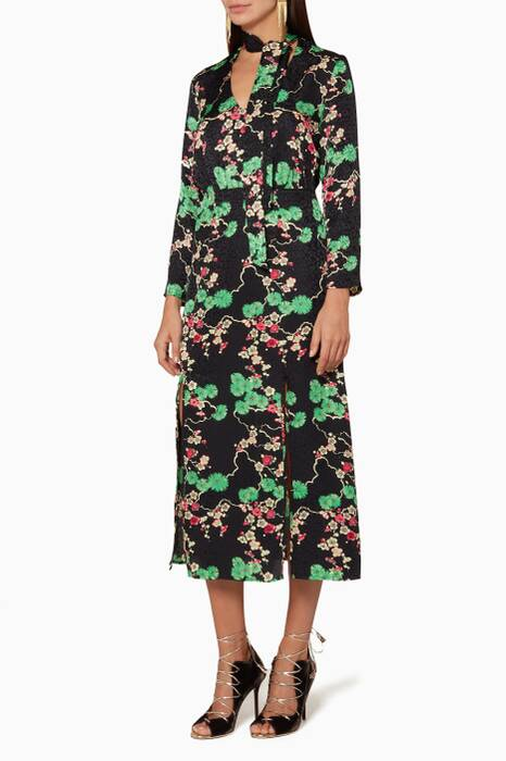 Black Cherry Blossom Stella Necktie Midi Dress