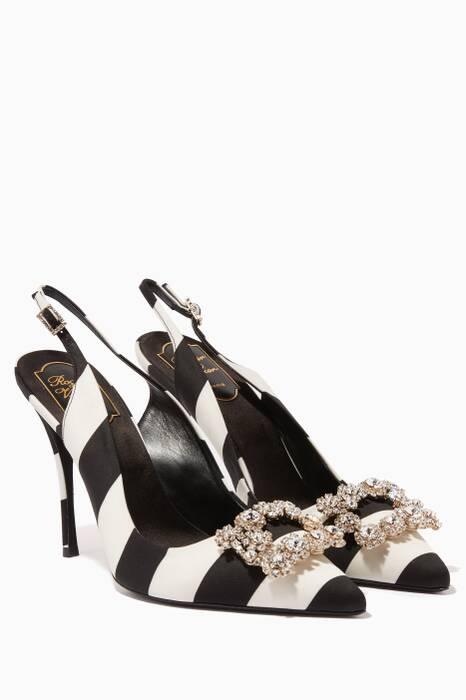 Black & White Flower Strass Buckle Sling-Back Sandals
