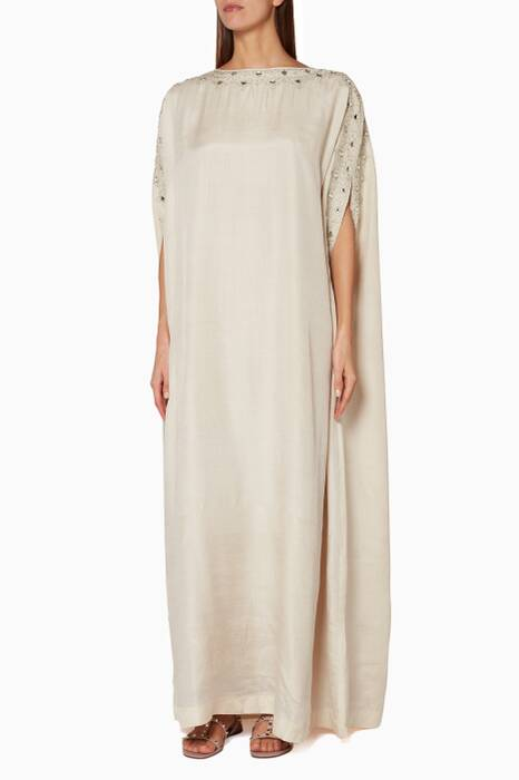 Beige Embroidered Cape Kaftan Dress