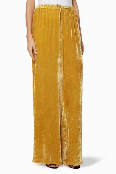Mustard-Yellow Velvet Pavlova Pants