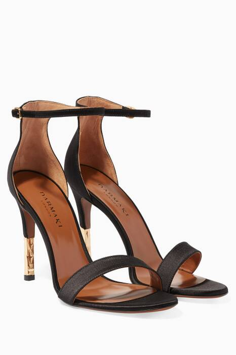 Black Lucian 002 Satin Sandals