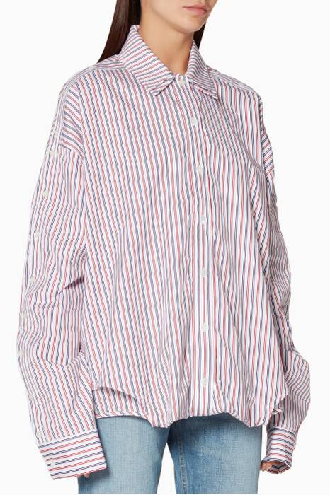 Red & Navy Stripe Double-Layer Shirt
