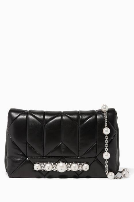 Black Embellished Leather Shoulder Bag