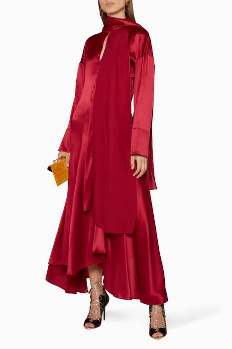 Burgundy Alida Satin Tie-Neck Dress