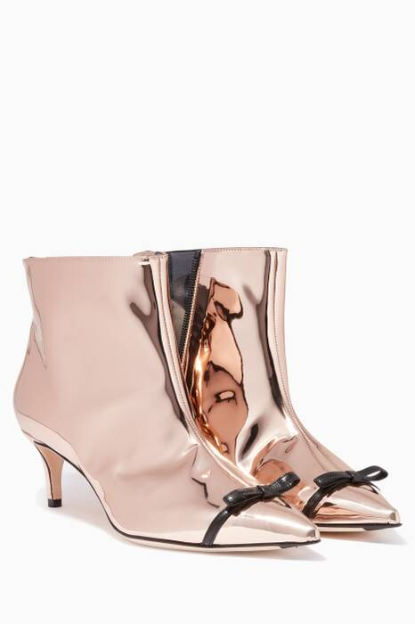 Metallic Rose-Gold Mirrored Knee Boots