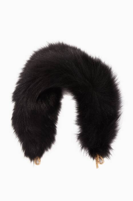 Black Fox Fur Bag Strap