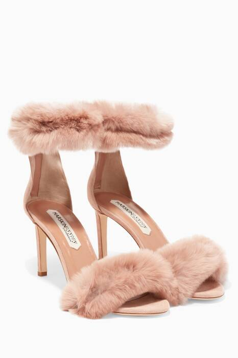 Light-Beige Rabbit Fur Embellished Suki Sandals
