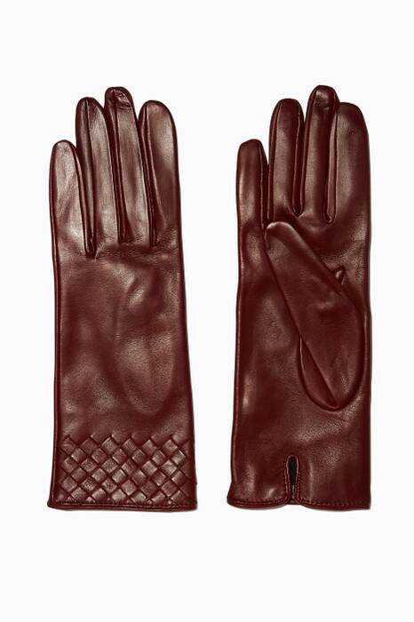 Barolo Short Intrecciato Leather Gloves