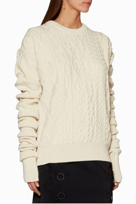 Cream Cable-Knit Sweater
