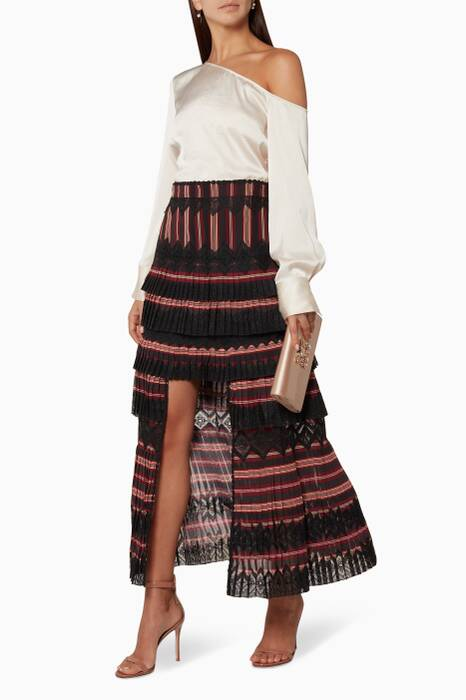 Burgundy Striped Folly Dapper Skirt