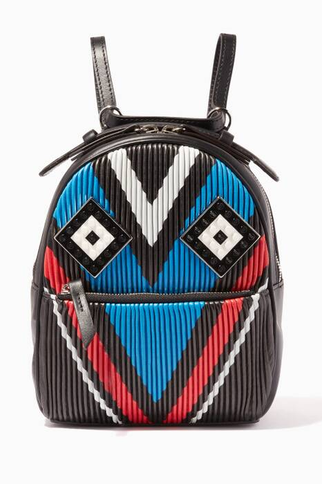 Blue Baby Mick Mask Plisse Leather Backpack