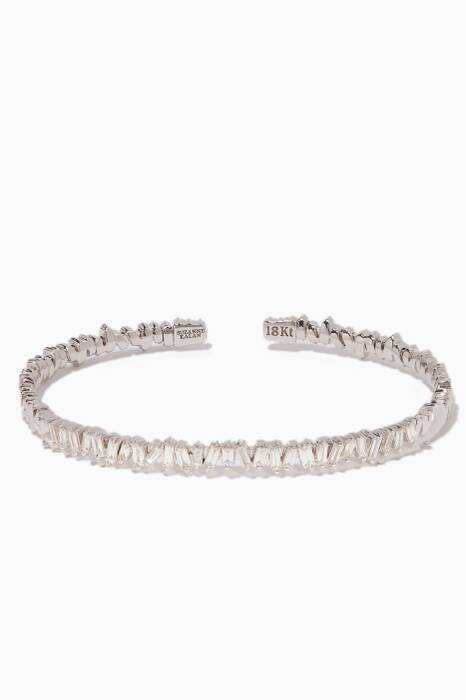 White-Gold & Diamond Baguette Bangle