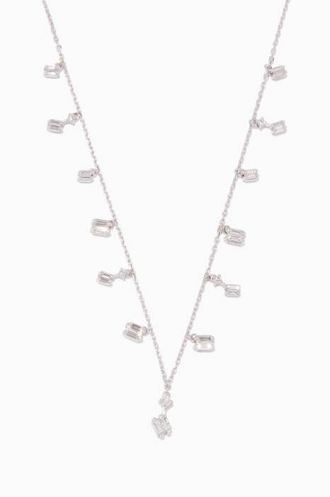White-Gold & Dangling Diamond Baguette Necklace