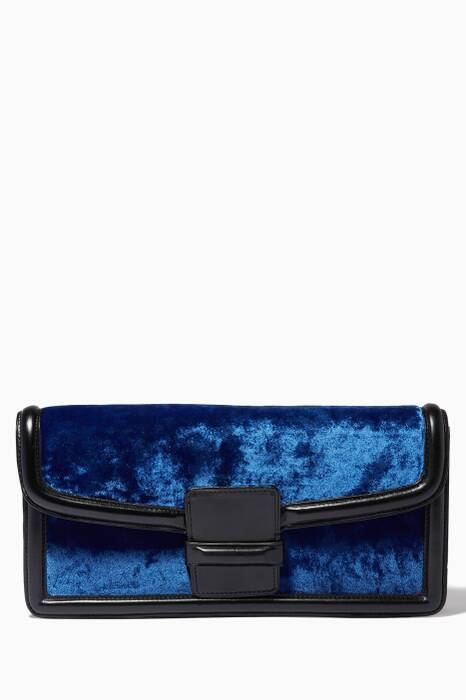 Blue & Black Velvet Clutch Bag